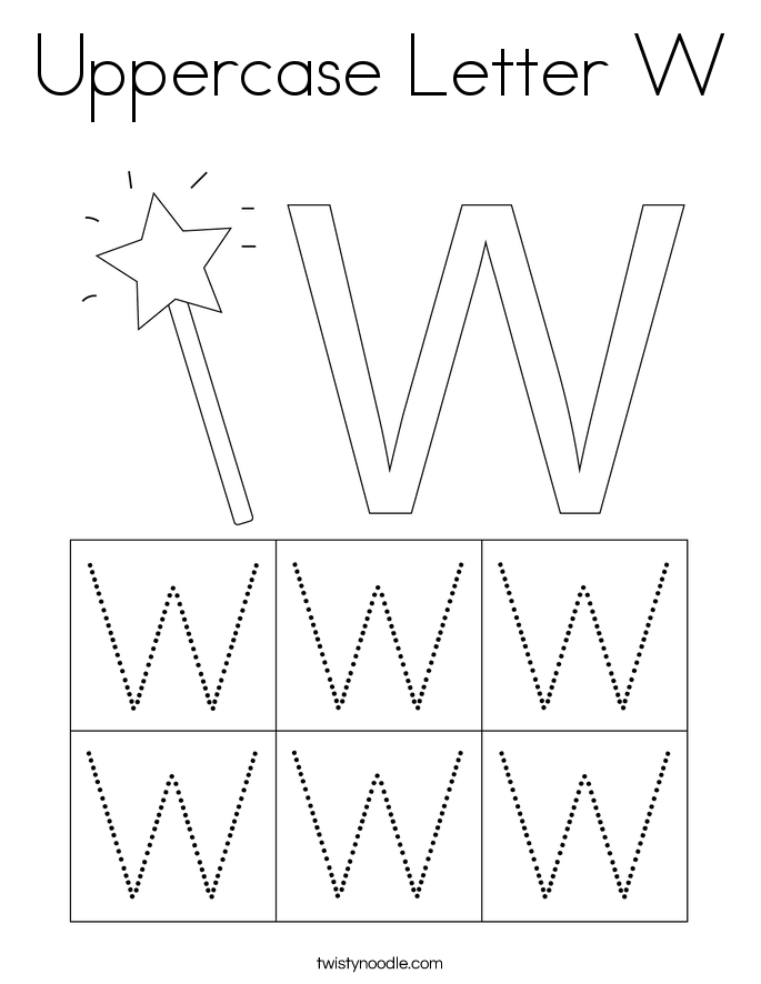 Uppercase Letter W Coloring Page