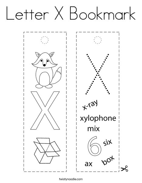 Letter X Bookmark Coloring Page