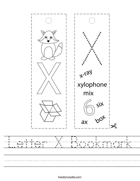Letter X Bookmark Worksheet