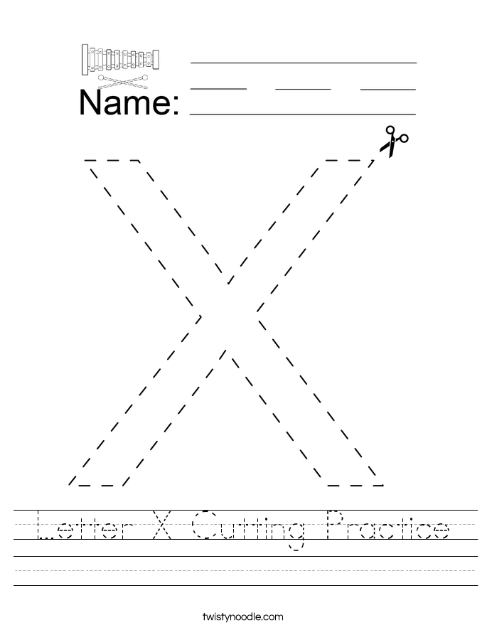 Letter X Cutting Practice Worksheet