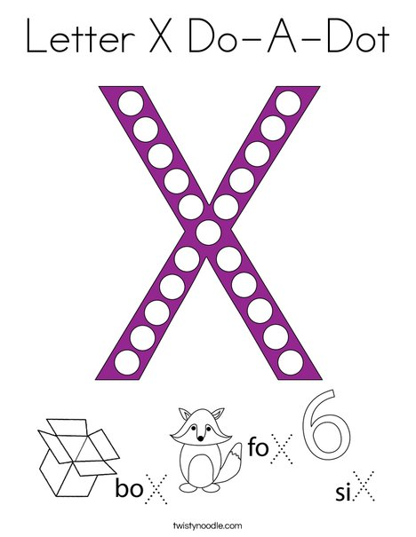 Letter X Do-A-Dot Coloring Page