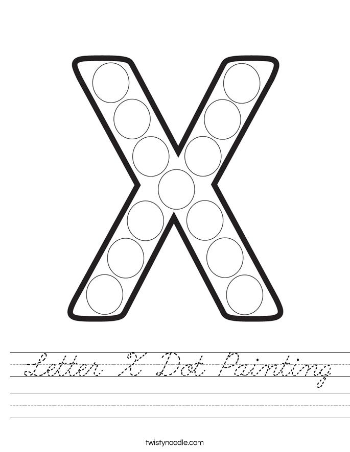 Letter X Dot Painting Worksheet