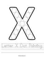 Letter X Dot Painting Handwriting Sheet