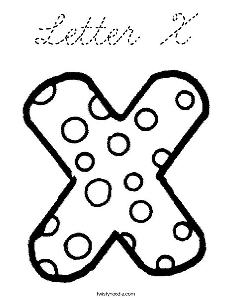 Letter X Dots Coloring Page
