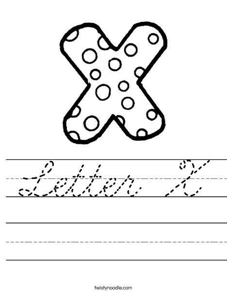 Letter X Dots Worksheet