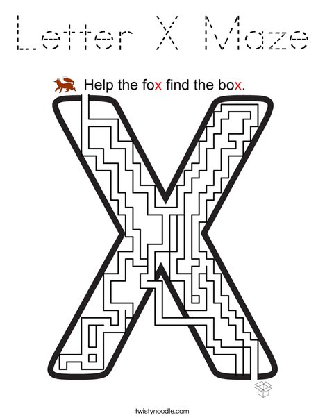 Letter X Maze Coloring Page - Tracing - Twisty Noodle