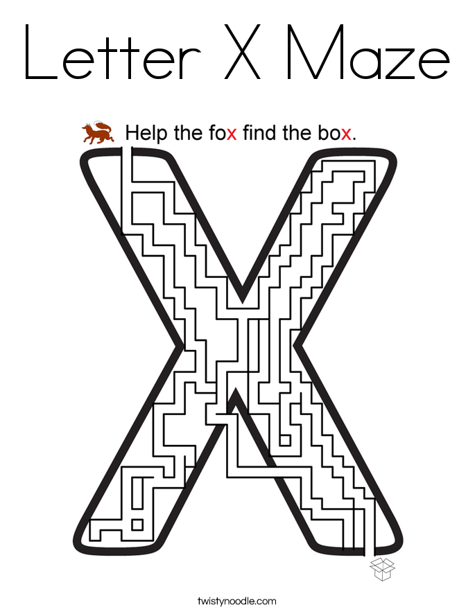 Letter X Maze Coloring Page