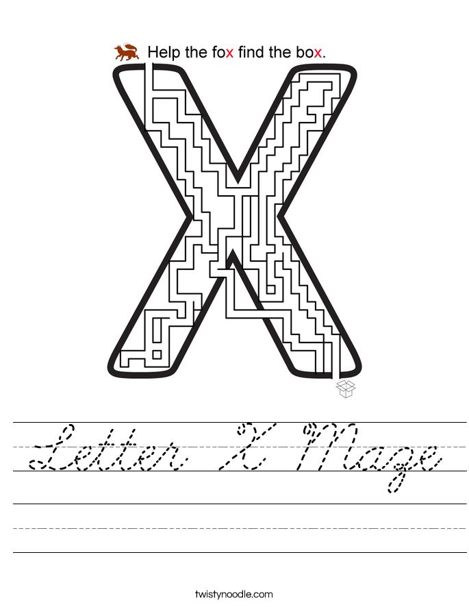 Letter X Maze Worksheet
