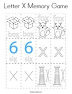 Letter X Memory Game Coloring Page