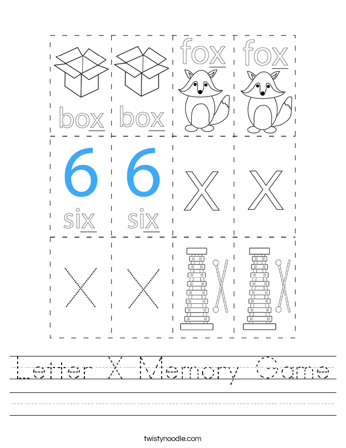Letter X Memory Game Worksheet
