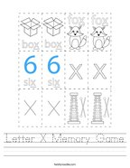 Letter X Memory Game Handwriting Sheet
