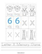 Letter X Memory Game Handwriting Sheet