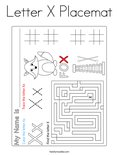 Letter X Placemat Coloring Page