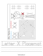 Letter X Placemat Handwriting Sheet