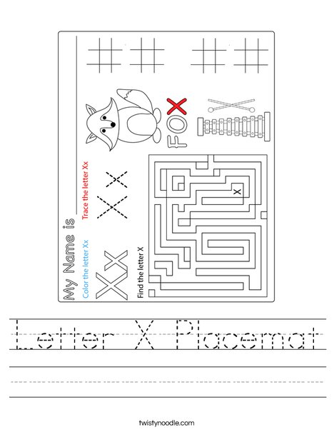 Letter X Placemat Worksheet