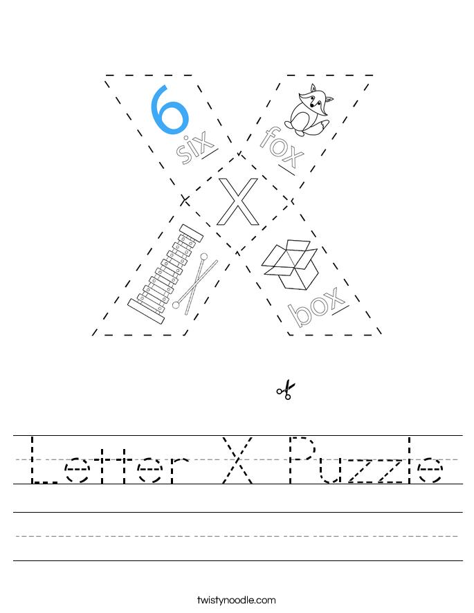 Letter X Puzzle Worksheet