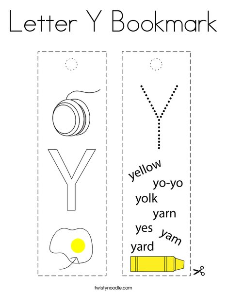 Letter Y Bookmark Coloring Page