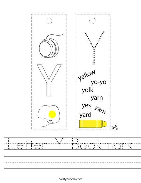 Letter Y Bookmark Worksheet