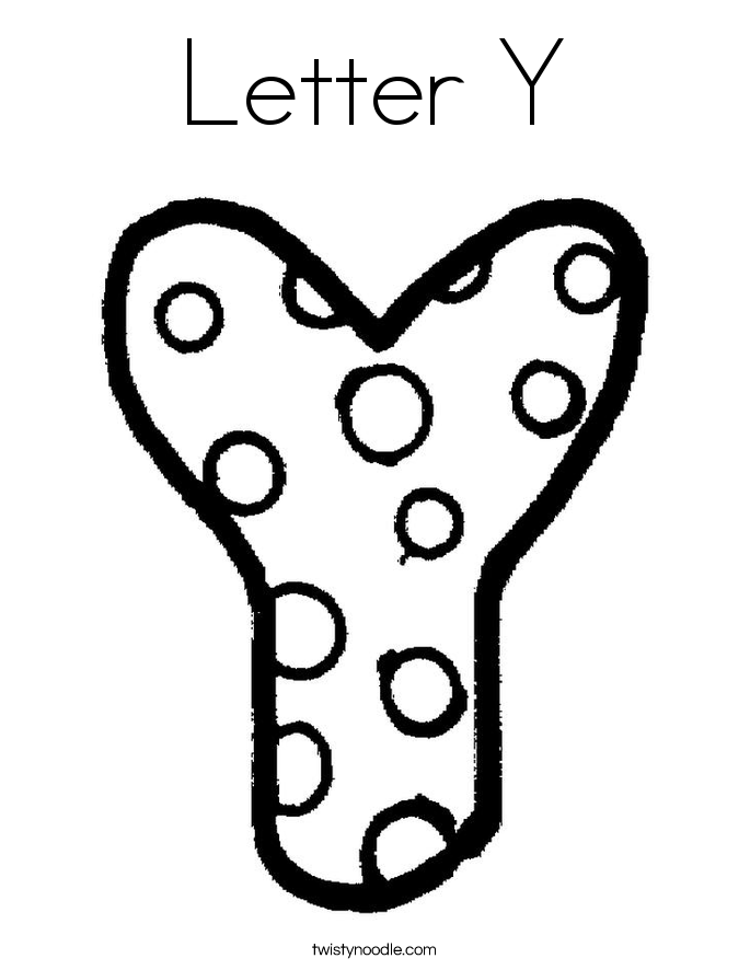 Letter Y Coloring Pages Twisty Noodle