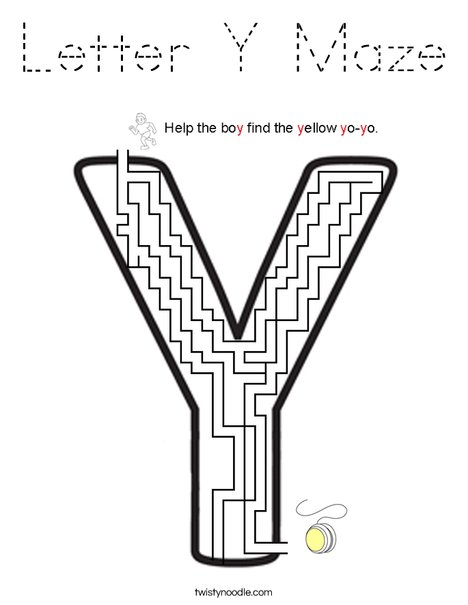 Letter Y Maze Coloring Page