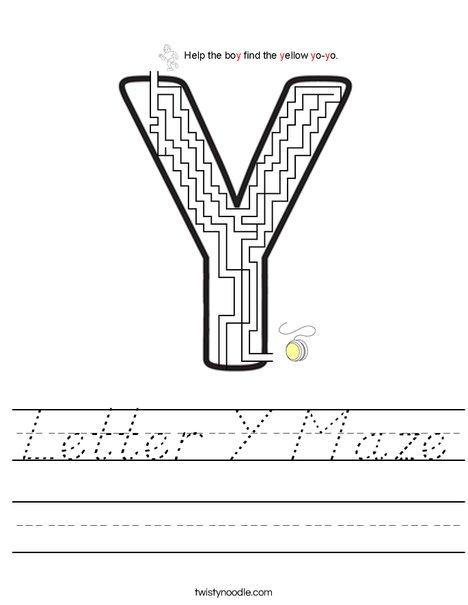 Letter Y Maze Worksheet
