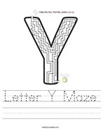 Letter Y Maze Handwriting Sheet