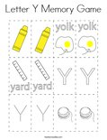 Letter Y Memory Game Coloring Page