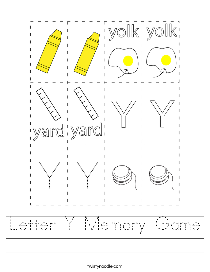 Letter Y Memory Game Worksheet