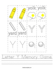 Letter Y Memory Game Handwriting Sheet