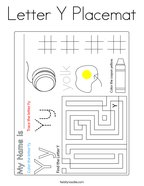 Letter Y Placemat Coloring Page