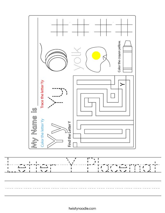 Letter Y Placemat Worksheet
