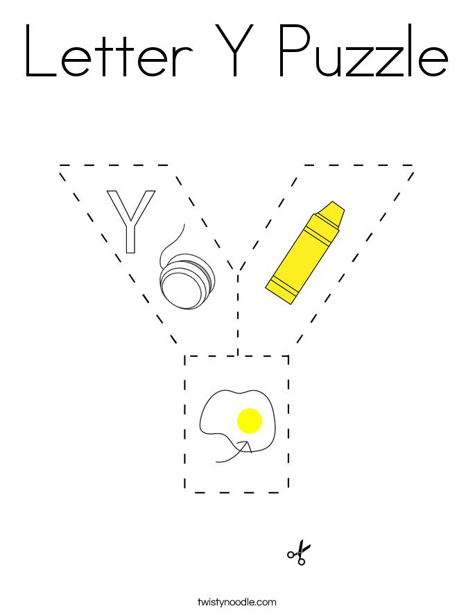 Letter Y Puzzle Coloring Page