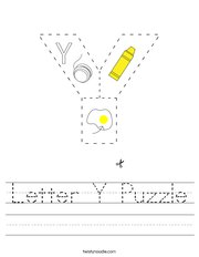 Letter Y Puzzle Handwriting Sheet