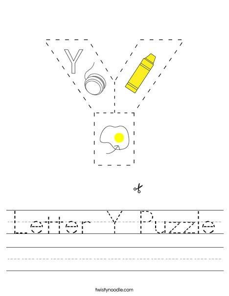 Letter Y Puzzle Worksheet