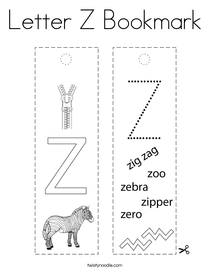 Letter Z Bookmark Coloring Page