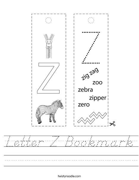 Letter Z Bookmark Worksheet