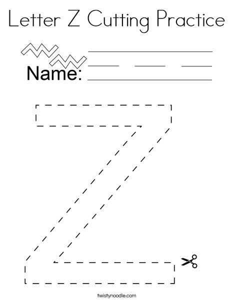 Letter Z Cutting Practice Coloring Page