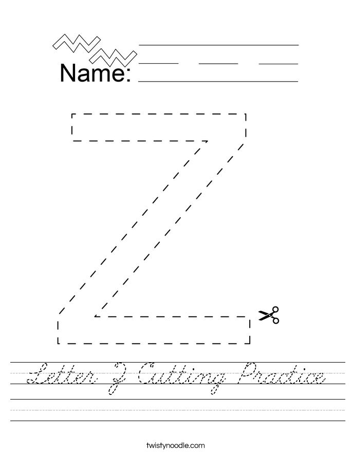 Letter Z Cutting Practice Worksheet
