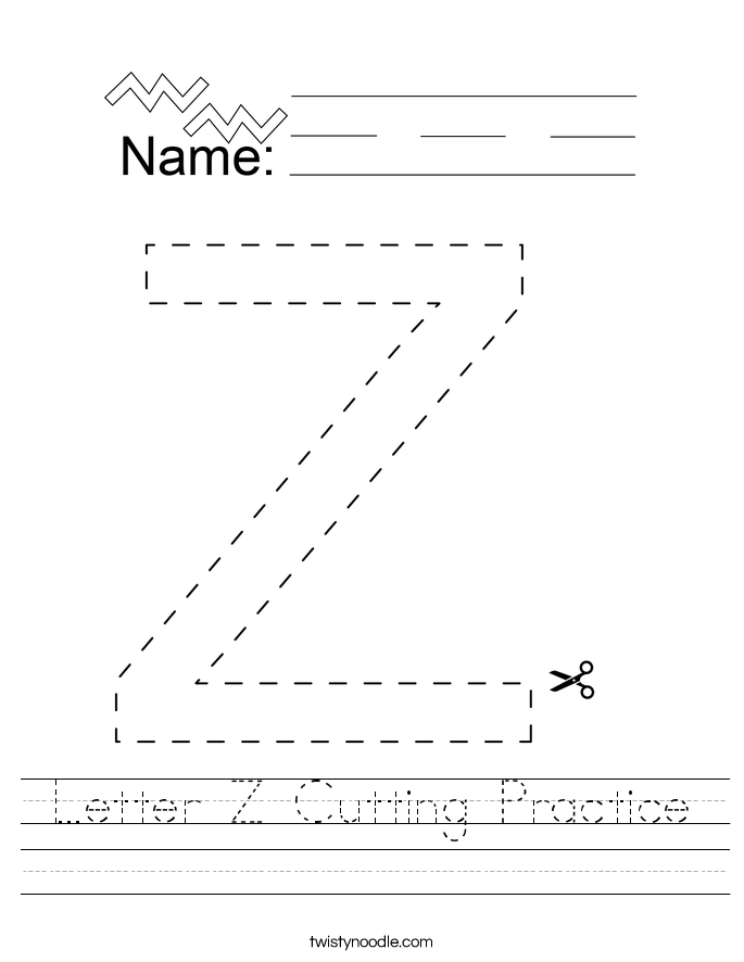 Letter Z Cutting Practice Worksheet