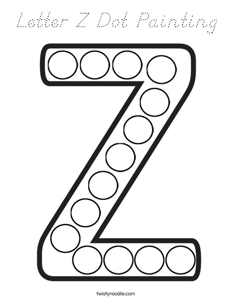 Letter Z Dot Painting Coloring Page