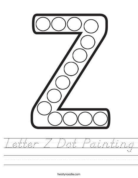 Letter Z Dot Painting Worksheet