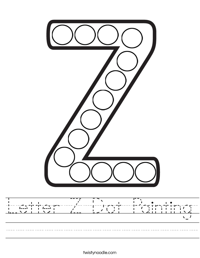 Letter Z Dot Painting Worksheet