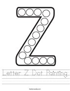 Letter Z Dot Painting Handwriting Sheet
