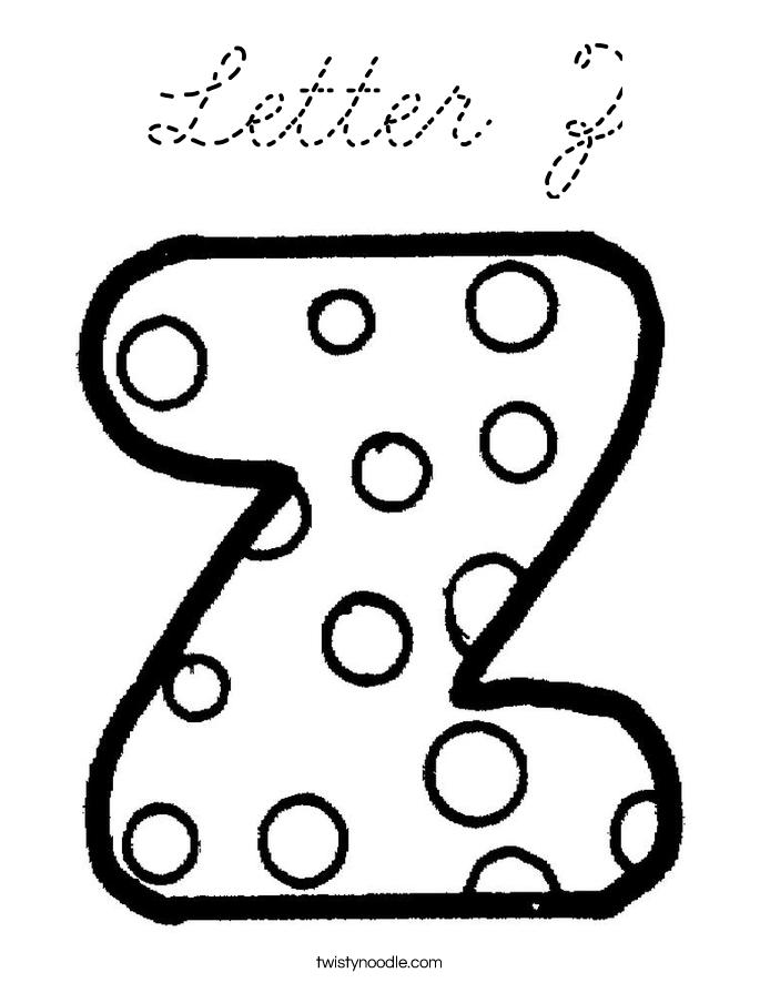 Letter Z Coloring Page Cursive