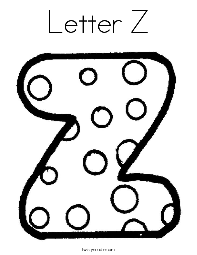 Letter z coloring page twisty noodle for Twisty noodle coloring pages