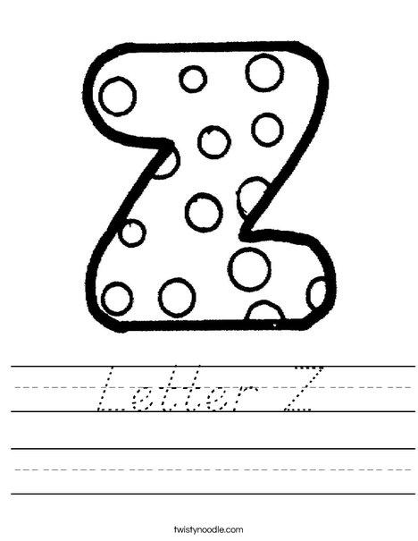 Letter Z Dots Worksheet