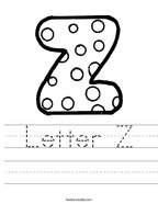 Letter Z Handwriting Sheet