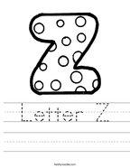 Letter Z Handwriting Sheet