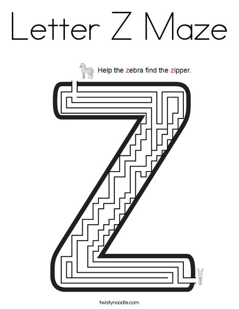 Letter Z Maze Coloring Page