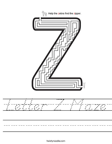 Letter z maze worksheet dnealian twisty noodle letter z maze worksheet spiritdancerdesigns Image collections